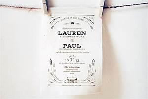 lauren paul39s rustic screen printed fabric wedding With wedding invitations printed on fabric
