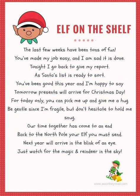 elf   shelf printable goodbye letter elf