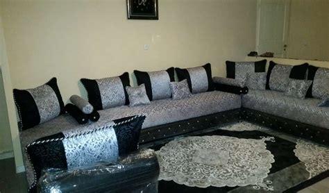canapé gris bleu salon marocain artisanal à vendre décor salon marocain