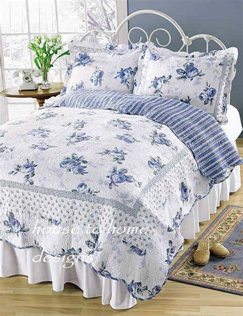 blue rose blossom twin full queen or king quilt set