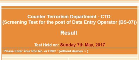 counter terrorism bureau nts result counter terrorism department ctd post of data