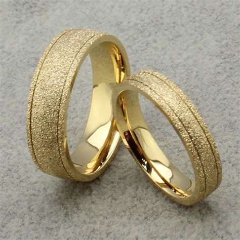 new frosted couple ring 18k gold engagement wedding