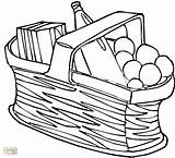 Picnic Basket Coloring Baskets Netart Disimpan Dari Children Empty sketch template