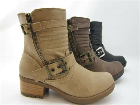 womens combat ankle boots booties mid calf motorcycle