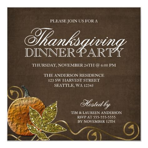 Thanksgiving Dinner Party Invitations Zazzle com