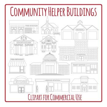11418 community helpers clipart black and white community helper buildings black and white clip pack