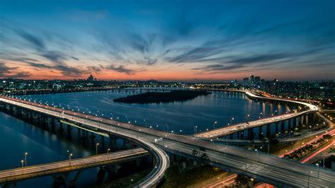 wallpaper han river bridge seoul south korea