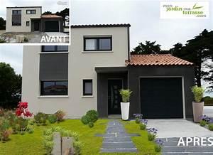 amenager une entree de maison moderne monjardin With amenager une terrasse exterieure 5 amenager parterre devant maison decor paysagiste jardin