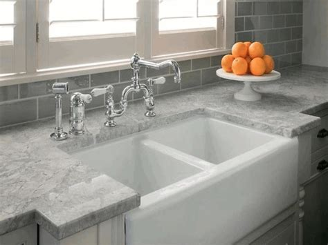 Kitchen Backsplash Ideas With Black Granite Countertops - exposed dark grey brick wall modern square white basin grey granite countertop circle fruit