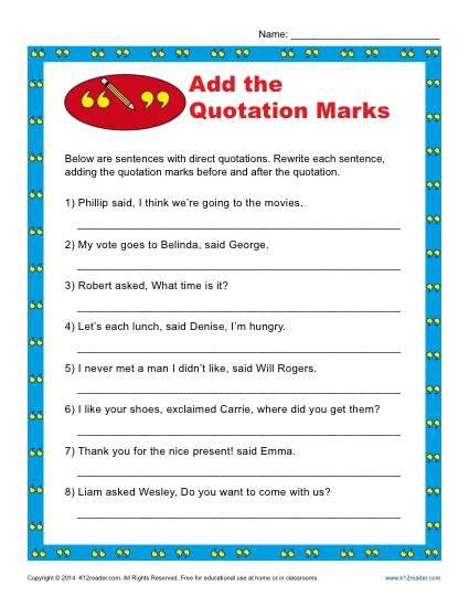 2nd grade quotation marks worksheets worksheets for all