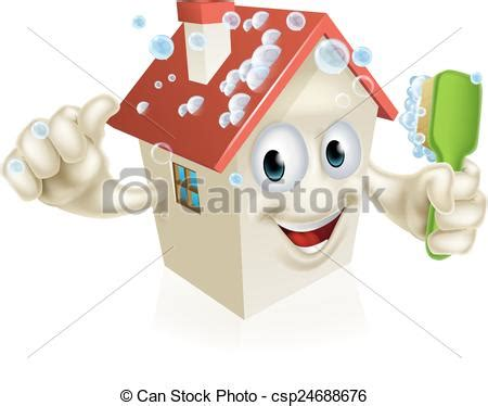 Vektoren Illustration Von Haus, Putzen, Maskottchen Ein