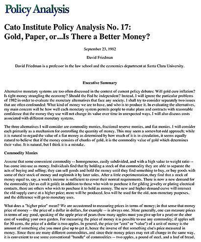 gold paper oris    money cato institute