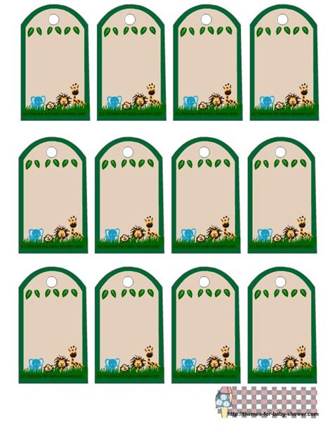 Looks like a chalkboard finish when printed. Baby Shower Favor Tags Template Images Of Safari Ba Shower ...