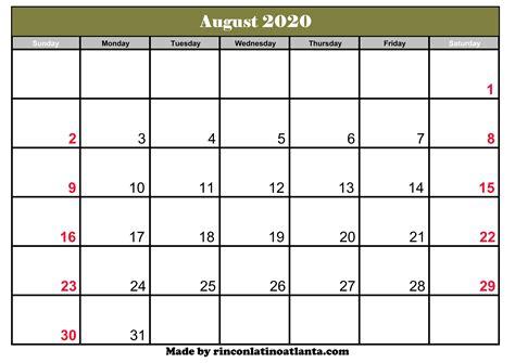august calendar template printable editable calendar template