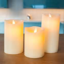 indoor decorations 3 ivory wax battery pillar candles