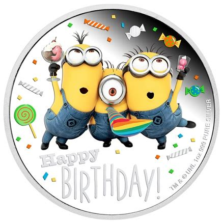 silber minions happy birthday  oz pp coloriert
