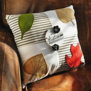 Autumn Inspiration Pillow - Rich wool felt appliqué leaves