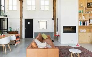 verriere atelier loft sol beton cire poutre apparente With tapis oriental avec canapé en cuir camel