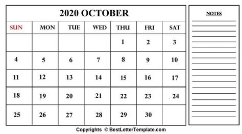 printable october calendar template excel word
