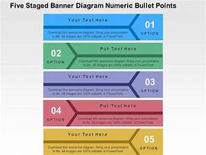 Five Staged Banner Diagram Numeric Bullet Points Flat
