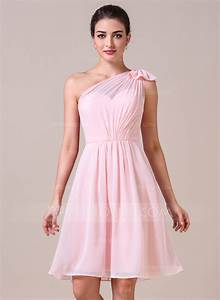 a line princess one shoulder knee length chiffon With robe bustier rose pale