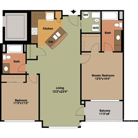 Bedroom Floor Plan by 2 Bedrooms Floor Plans Jackson Square