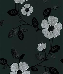 Poppy Modern Floral Wallpaper in Black by Brewster Home ...
