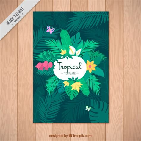 tropical poster template green tropical poster vector free download