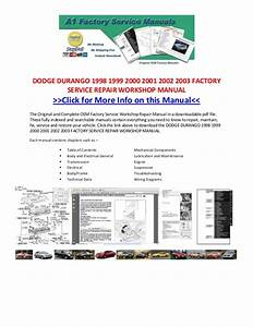Dodge Durango 1998 1999 2000 2001 2002 2003 Factory Service Repair Wo U2026