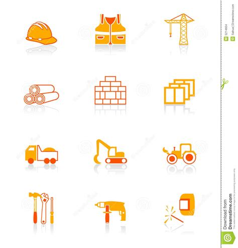 construction icons juicy series stock vector image