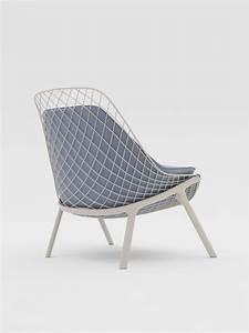 Fauteuil contemporain en acier en cuir en tissu for Chaise fauteuil contemporain