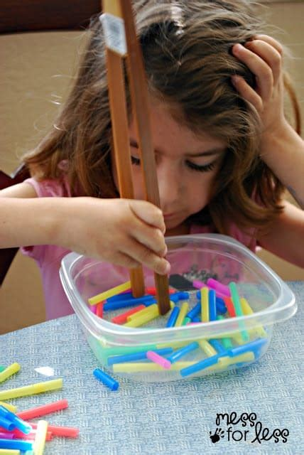 Fine Motor Activity - Fruit Loop Towers - Mess for Less