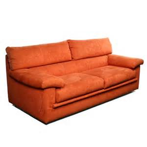 Contemporary Settee by Contemporary Orange Suede 3 Seater Sofa Settee Ebay