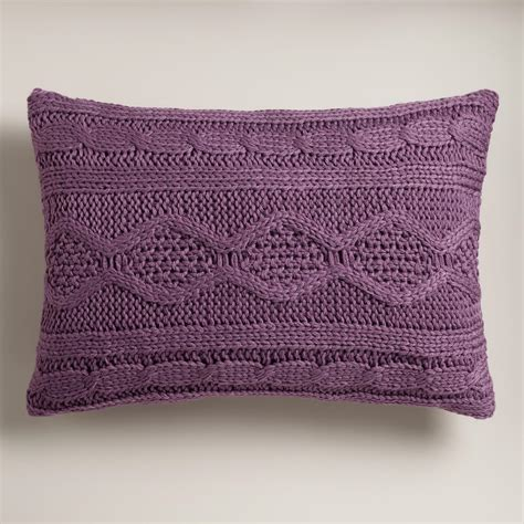 purple lumbar pillow purple knit lumbar pillow world market