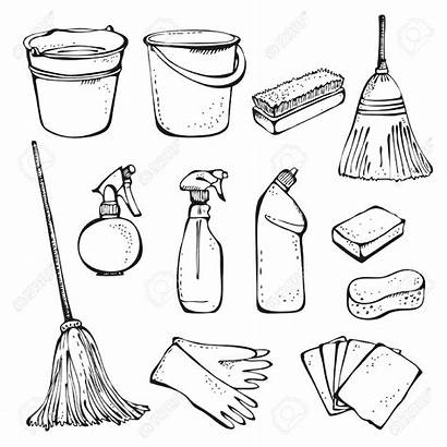 Tools Cleaning Supplies Drawing Office Vector Clip