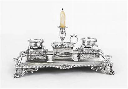 Antique Silver Desk Accessories Inkstand English London