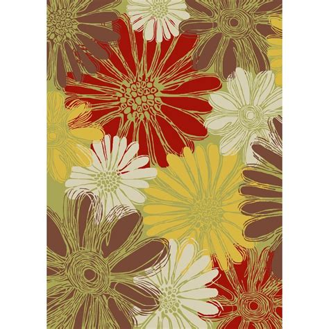area rugs home depot nourison home and garden daisies green 10 ft x 13 ft