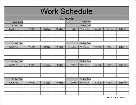 work schedule template work schedule templates find word templates