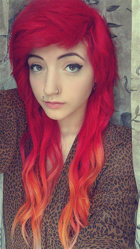 Red Ombre Dip Dyed Hair Dyed Hair And Pastel Hair