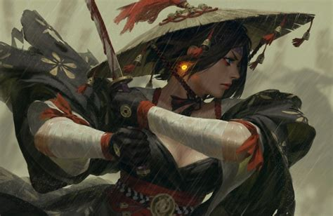 Wallpaper Fantasy Woman, Warrior, Sword, Raining, Battle ...