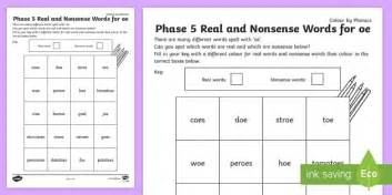 Phase 5 'oe' Colour By Phoneme Real And Nonsense Words  Phase 5