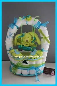 cadeau naissance bapteme gateau de couches garcon With déco chambre bébé pas cher avec bonbon en forme de fleur