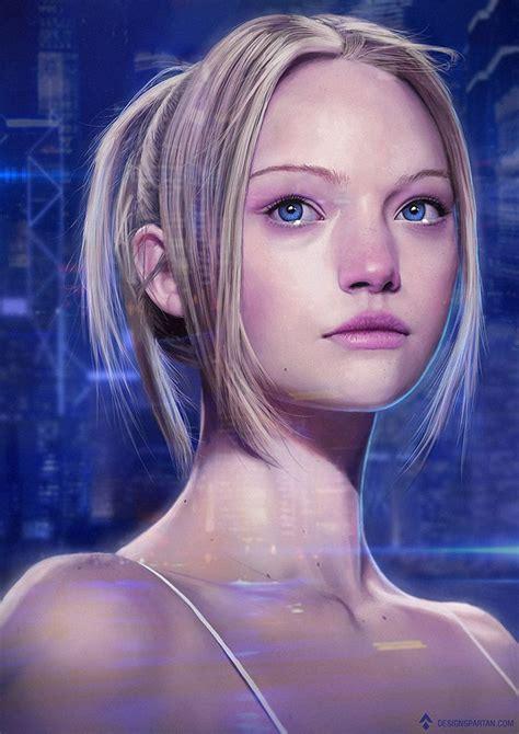 sci fi girl portrait  designspartan female hacker cyborg