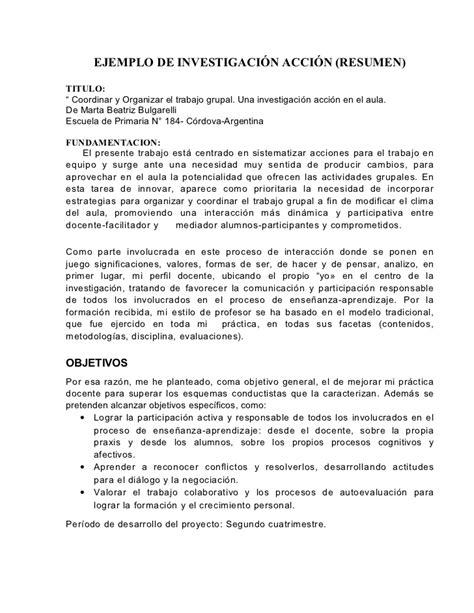 Un Resumen De Trabajo by Ejemplo Resumido De Investigaci 243 N Acci 243 N