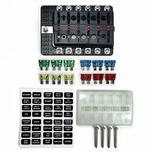 Universal 12 Way Covered 12v Circuit Blade Fuse Box With