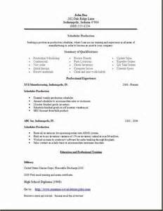 production planning resume exle production scheduler resume template