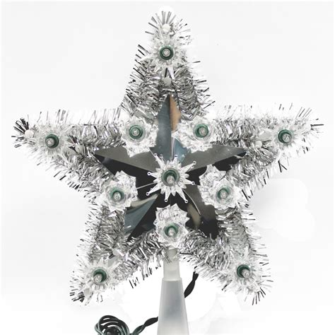 trim a home 174 silver tinsel star christmas tree topper 10 quot 11 quot
