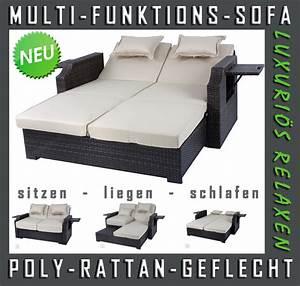 Rattan 2 Sitzer : neu 2 sitzer rattan lounge funktionssofa schlafsofa gartenm bel rattanliege ebay ~ Whattoseeinmadrid.com Haus und Dekorationen
