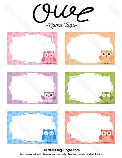 Name Tag Template Free Printable Owl Name Tags The Template Can Also Be