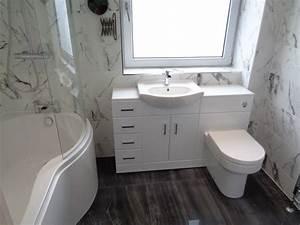 Luxury bathroom renovation with italian marble effect tiles for Marble bathroom tiles uk